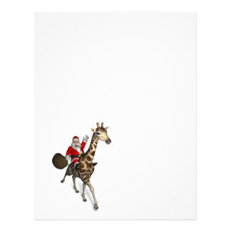 Santa Claus Riding A Giraffe Personalized Letterhead