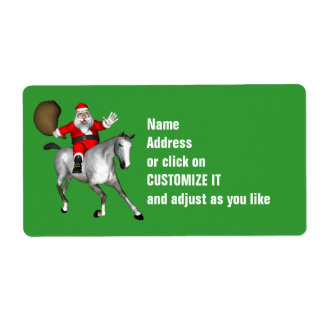 Santa Claus Riding A Grey Horse Shipping Label
