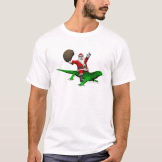 Santa Claus Riding Green Lizard T-Shirt