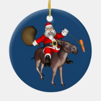 Santa Claus Riding On Donkey Ceramic Ornament