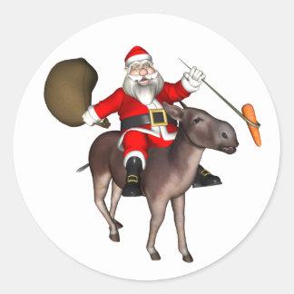 Santa Claus Riding On Donkey Classic Round Sticker