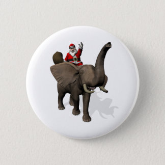 Santa Claus Riding On Elephant 2 Inch Round Button