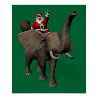 Santa Claus Riding On Elephant Poster
