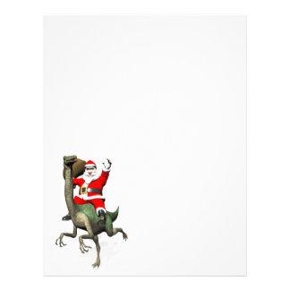 Santa Claus Riding On Gallimimus Letterhead Design