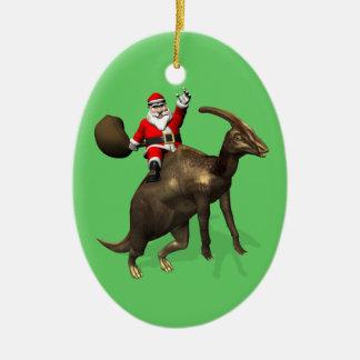 Santa Claus Riding On Parasaurolophus Ceramic Ornament
