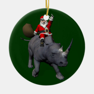 Santa Claus Riding On Rhinoceros Ceramic Ornament