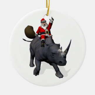 Santa Claus Riding On Rhinoceros Rhino Ceramic Ornament