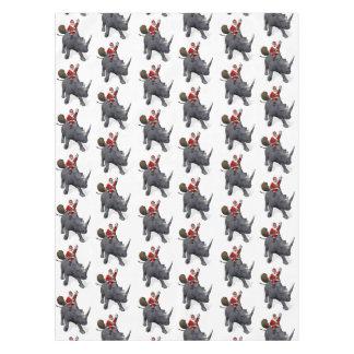 Santa Claus Riding On Rhinoceros Tablecloth