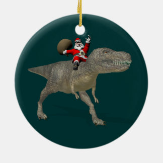 Santa Claus Riding On Trex Ceramic Ornament