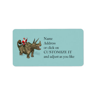 Santa Claus Riding On Triceratops Custom Address Labels