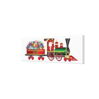 Santa Claus Ringing Bell on Train and Gifts Canvas Gallery Wrap Canvas