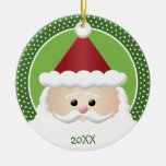Santa Claus Round Ceramic Ornament