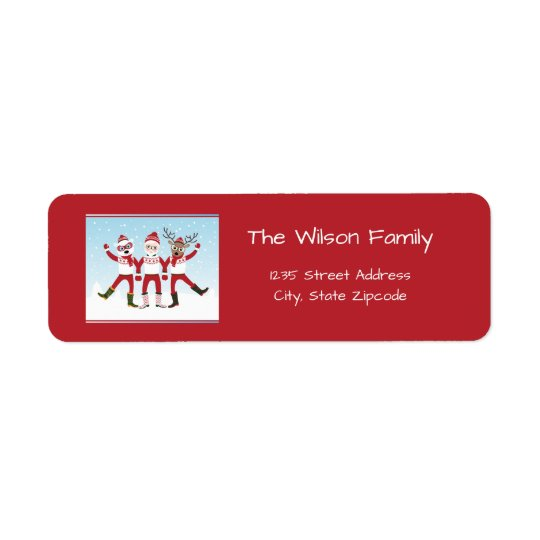 Santa Claus, Rudolph and Polar Bear Christmas Return Address Label