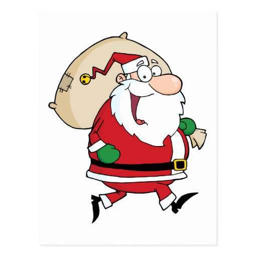 Santa Claus Runs With Bag Post Cards