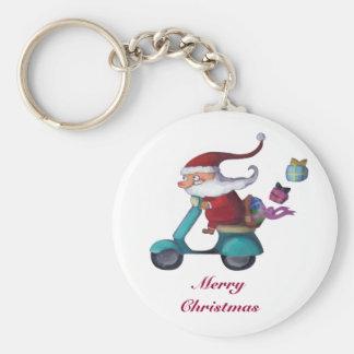 Santa Claus Scooterist Keychains