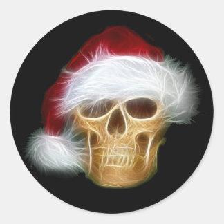 Santa Claus skull Classic Round Sticker