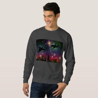santa claus sleigh mens sweatshirt