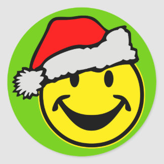 Santa Claus Smiley + your backgr. & ideas Classic Round Sticker
