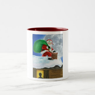 Santa Claus Sneaking on the Rooftop Two-Tone Coffee Mug