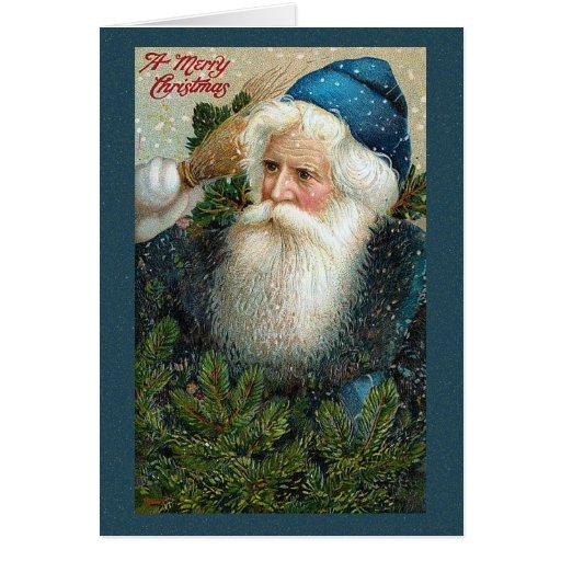 Santa Claus Snowflakes Christmas Card