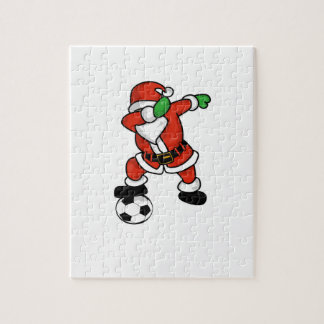 Santa Claus soccer dab dance ugly christmas T-shir Jigsaw Puzzle