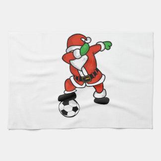 Santa Claus soccer dab dance ugly christmas T-shir Kitchen Towel