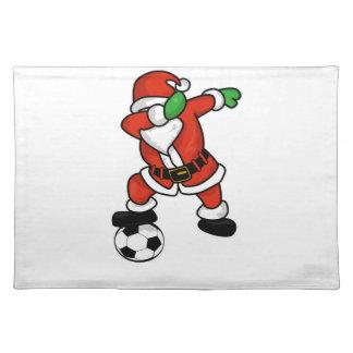 Santa Claus soccer dab dance ugly christmas T-shir Placemat