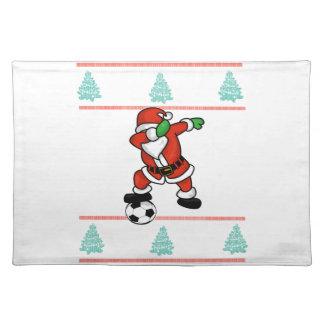 Santa Claus soccer dab ugly Christmas 2018 T-Shirt Placemat