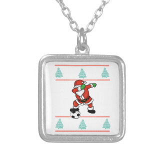 Santa Claus soccer dab ugly Christmas 2018 T-Shirt Silver Plated Necklace