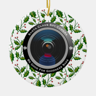 Santa Claus Spy Camera Ceramic Ornament