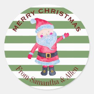 Santa Claus Stripes Personalized Classic Round Sticker