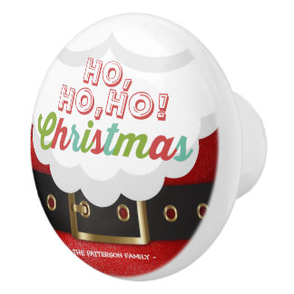 Santa Claus Suit Ho Ho Ho Christmas Happy New Year Ceramic Knob