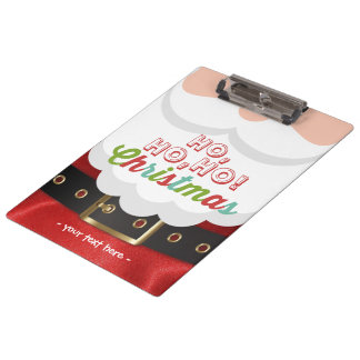 Santa Claus Suit Ho Ho Ho Christmas Happy New Year Clipboard