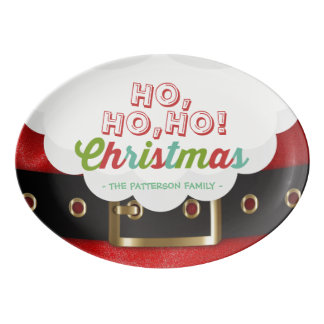 Santa Claus Suit Ho Ho Ho Christmas Happy New Year Porcelain Serving Platter