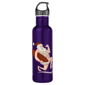 Santa claus surfing-santa claus cartoon-santa run 710 ml water bottle