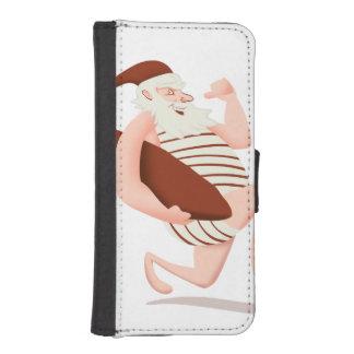Santa claus surfing-santa claus cartoon-santa run iPhone SE/5/5s wallet case