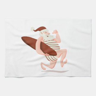 Santa claus surfing-santa claus cartoon-santa run kitchen towel