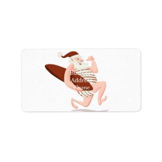 Santa claus surfing-santa claus cartoon-santa run label