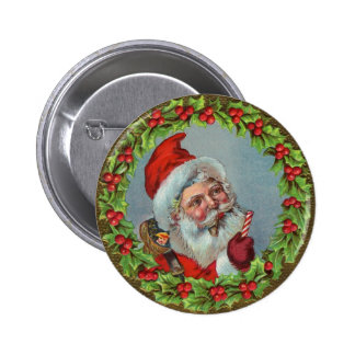 Santa Claus Surrounded By Wreath 2 Inch Round Button
