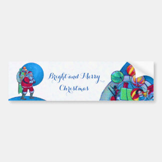 SANTA CLAUS ,TOY SACK AND BALLOONS Christmas Night Bumper Sticker