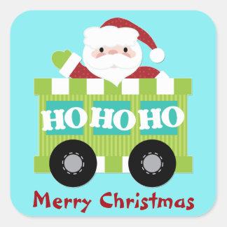 Santa Claus Train Car Christmas Square Sticker