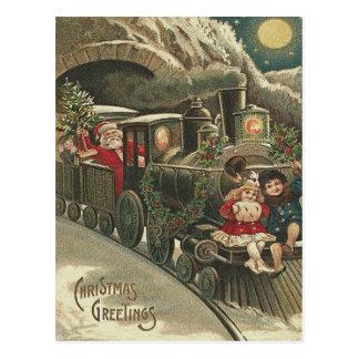 Santa Claus Train Holly Garland Children Postcard