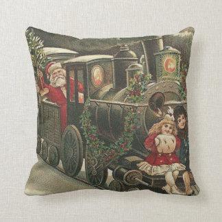 Santa Claus Train Holly Garland Children Throw Pillow