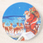 Santa Claus Up On The Rooftop In The Snow Coaster