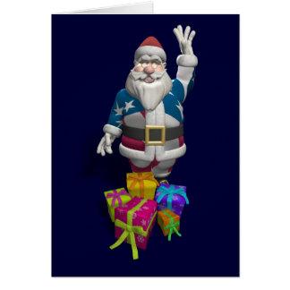 Santa Claus US Flag Jacket Card