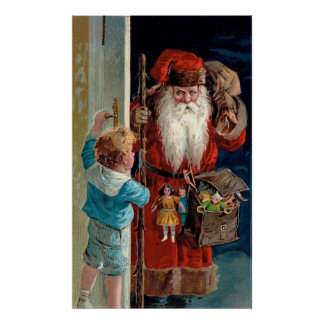 Santa Claus Visiting a Boy Print
