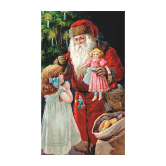 Santa Claus Visiting a Girl Stretched Canvas Print