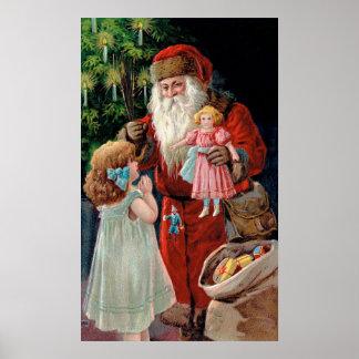 Santa Claus Visiting a Girl Print