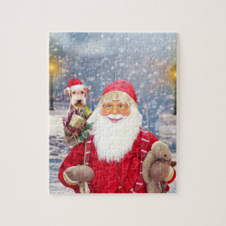 Santa Claus w Christmas Gifts Airedale Dog Jigsaw Puzzle