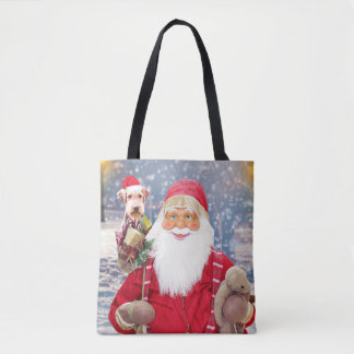 Santa Claus w Christmas Gifts Airedale Dog Tote Bag